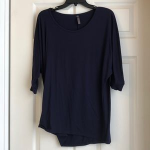 Oversized navy blue shirt with mid length sleeves
